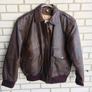 Vintage B52 Bomber Flight Jacket Brown Leather XL